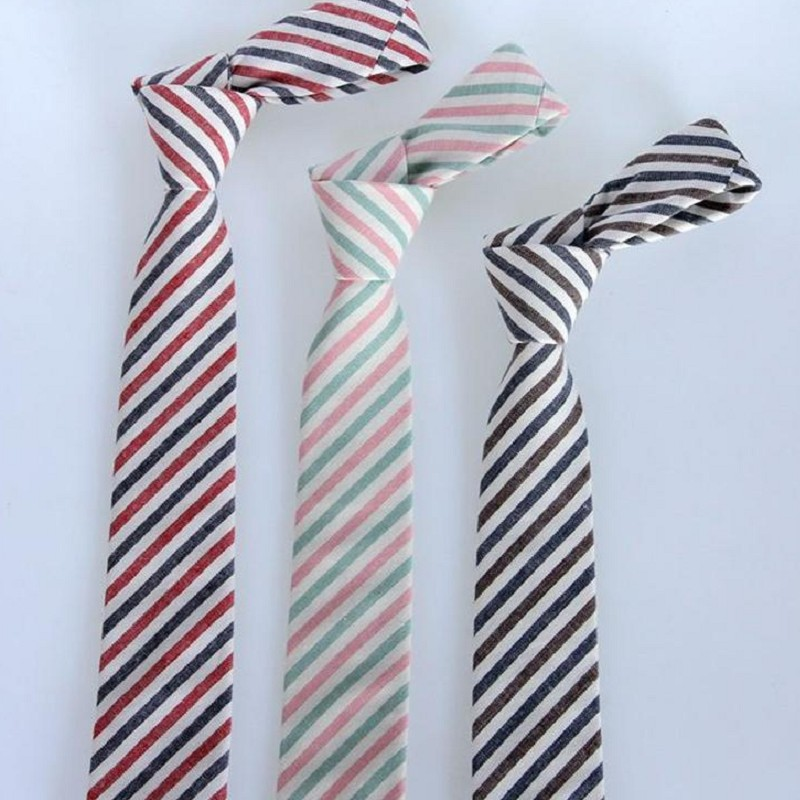 mens cotton tie skinny 6cm necktie colorful strips wedding casually neckties business blue red ties