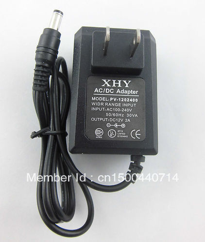12V2A power adapter, 12V2000mA power supply, 12V 2A AC/DC power supply adapter, AC 100-240V input voltage, Free ship power adapter fordell
