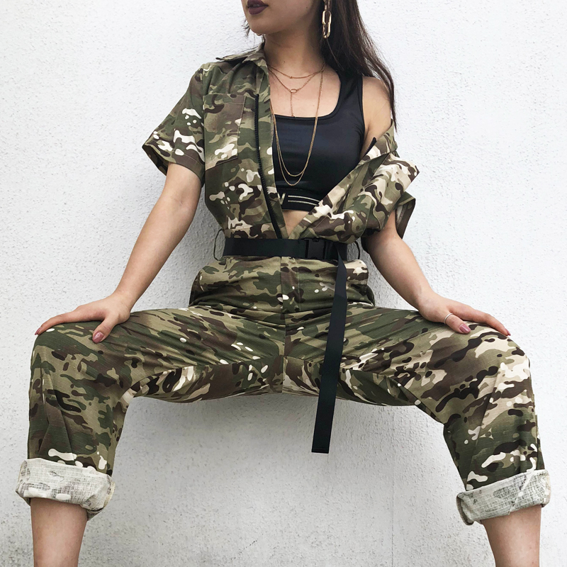 aabe179aaa61 Sweetown Camouflage Long Jumpsuit Women Street Style Combinaison Pantalon  Femme Overalls Rompers Womens Jumpsuits Streetwear-in Jumpsuits from Women s  ...