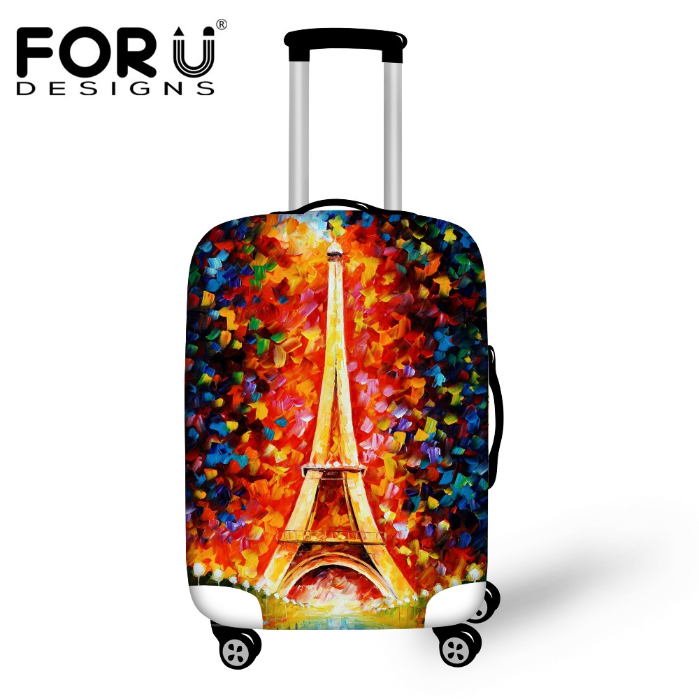 FORUDESIGNS Elastic Luggage Protective Covers 3D Eiffel Tower Painting Waterproof Dustproof Cover for 18-30 Inch Suitcase Cases