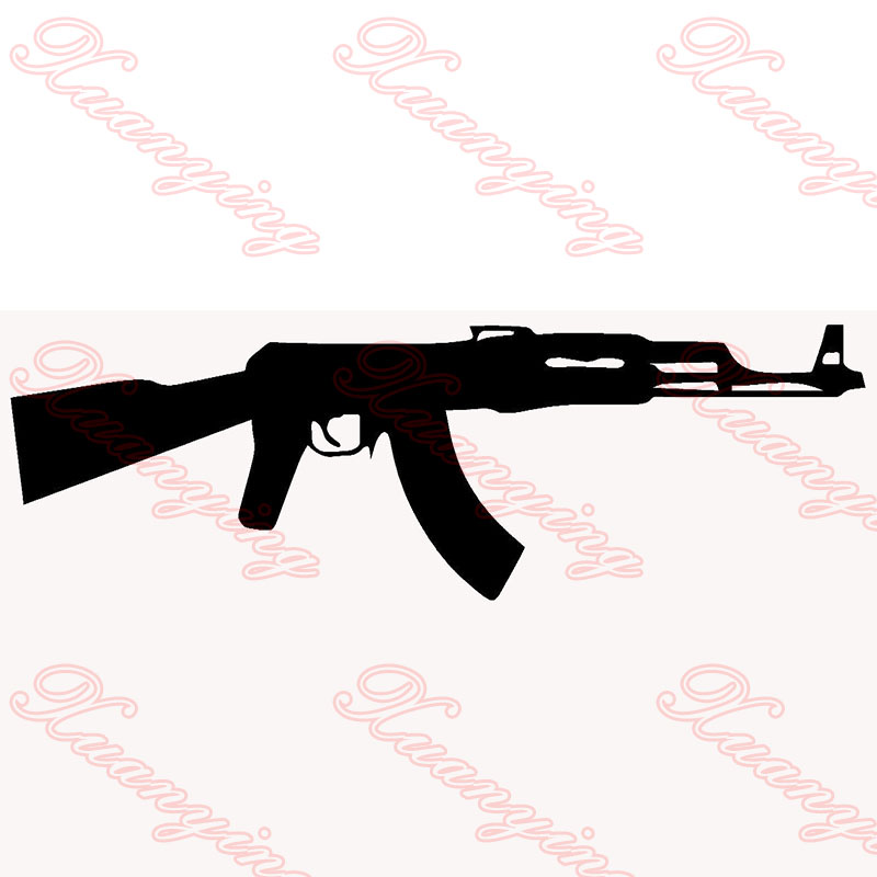 2X 2017 hot car-styling Ak-47 Kalashnikov Classic Car Sticker For Cars Side, Truck Window ,Auto SUV Door Kayak Vinyl Decal JDM horse riding sticker for car rear windshield truck suv bumper auto door laptop kayak canoe art wall die cut vinyl decal 8 colors