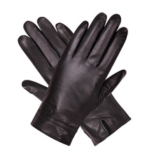 Black Touch Screen Leather Gloves Man Winter Keep Warm Plush Lined Thicken Windproof Non-Slip Sheepskin Male M18008NC-9