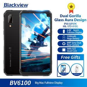 "Image 3 - Blackview a BV6100 6,88 ""teléfono inteligente 3GB + 16GB Android 9,0 IP68 impermeable del teléfono móvil 5580mAh NFC Dual SIM teléfono móvil de la huella dactilar"