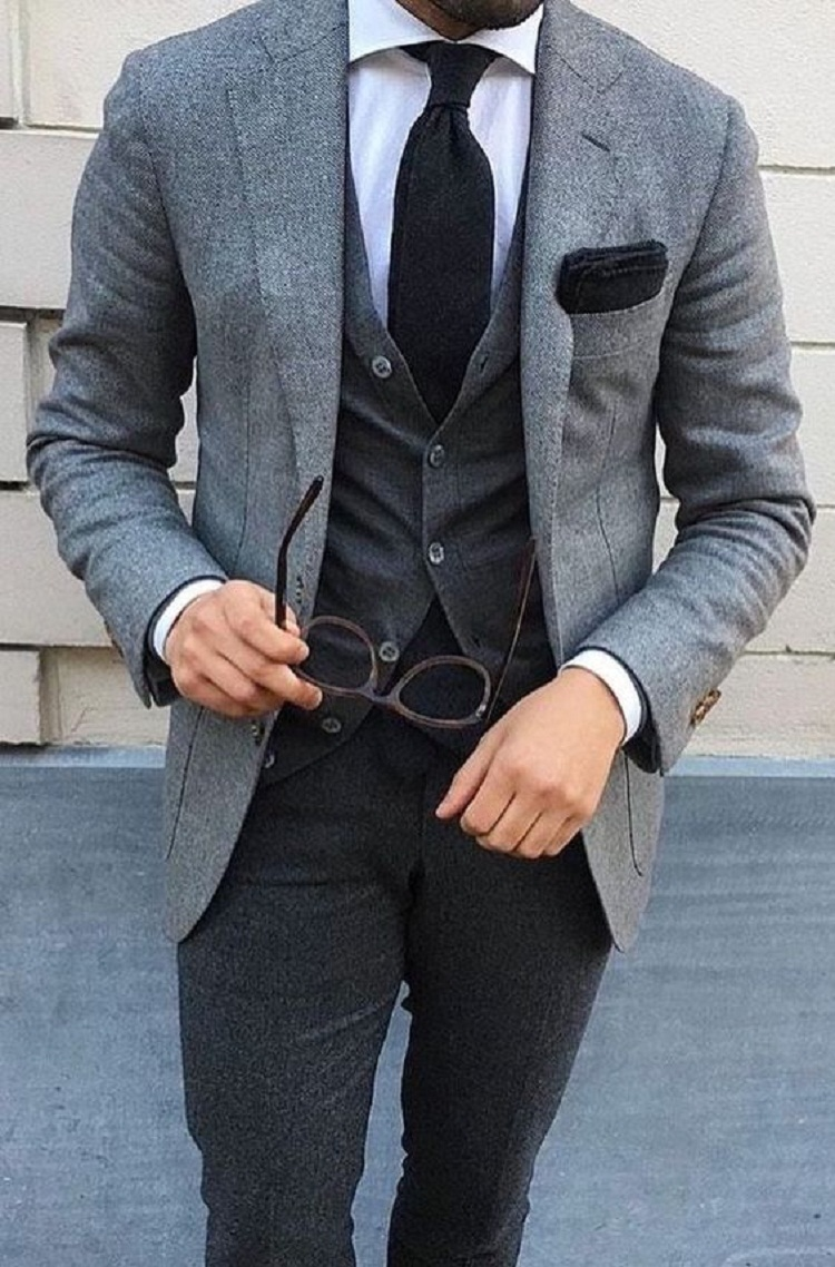 Grey Tweed Men Wedding Suit Vintage Suit Men Blazer Formal Business Coat Jacket Slim Tuxedo 3 Piece Suit with Pants Vest Custom