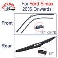 Kit Dianteiro E Traseiro de Borracha de Silicone Wiper Blades Para Ford S max-2006 Em Diante, Limpa-pára-brisas Acessórios Do Carro