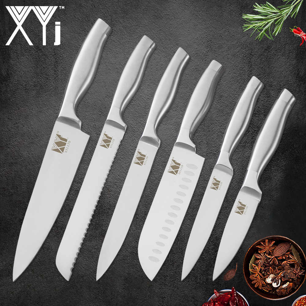 XYj Kitchen Cooking 6pcs Stainless Steel Knives Set 8'' Chef 8'' Bread 8'' Slicing 7'' Santoku 5'' Utility 3.5'' Paring Knives