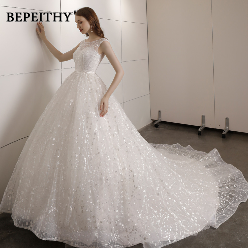 Vestido De Novia Ball Gown Wedding Dress Court Train Vintage Lace Wedding Dress With Belt 2019