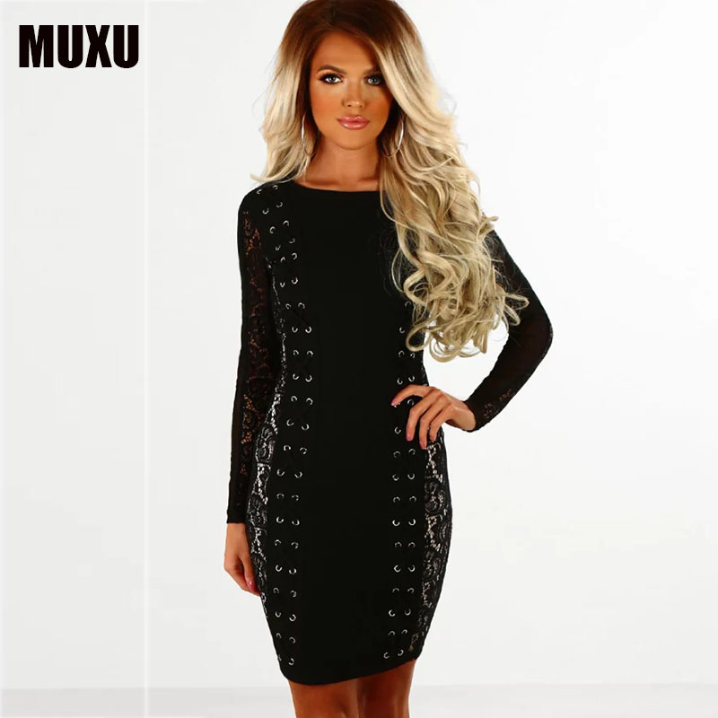 sexy women lace dress black vestido branco pencil dress vetement femme vestidos mujer bodycon women clothing long sleeve elbise