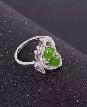 Natural green jasper Natural gemstone ring S925 sterling silver trendy Elegant Lovely butterfly women party gift Jewelry
