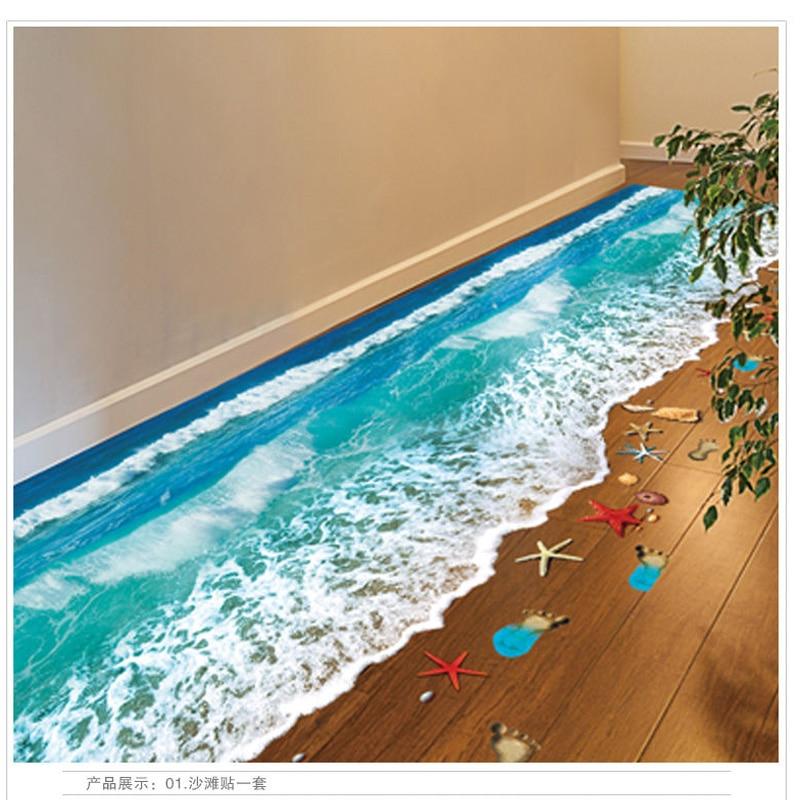 2016 Hot Creative 3D Starfish Footprint Beach Wall Floor Stickers Blue Seaside  Bathroom Room Home Decor. Online Get Cheap Seaside Bathroom Decor  Aliexpress com   Alibaba