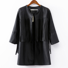 Wholesale European Style Women Leather Windbreaker Tassel Coat Hollow Fringed Long Leather Jacket For Women Free Shipping S2072