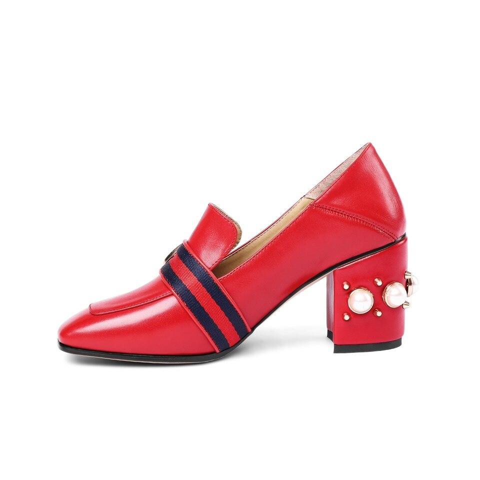 Femmes Magnifiquement Taille 43 Épais Véritable Automne Décoré rouge Pompes Noir Cuir Talons Nouvelles Printemps Mode De Chaussures 33 Pantoufle Haute Z7xwAcEAqf