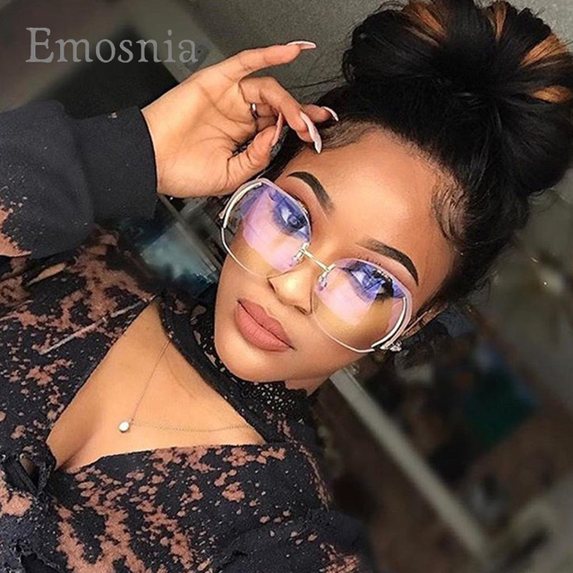 4fc7aa27558f Emosnia Fashion Oversized Rimless Sunglasses Women 2017 Classic Brand  Designer Sun Glasses For Mens And Womens Big Frame Eyewear