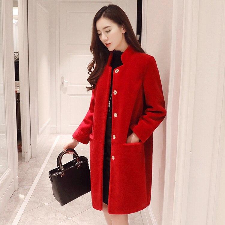 2018 nuovi stili di moda delle donne cappotto di pelliccia di pecora giacche inverno caldo femme outwear lungo agnello pecore genuine della pelliccia della signora dell'ufficio outwear
