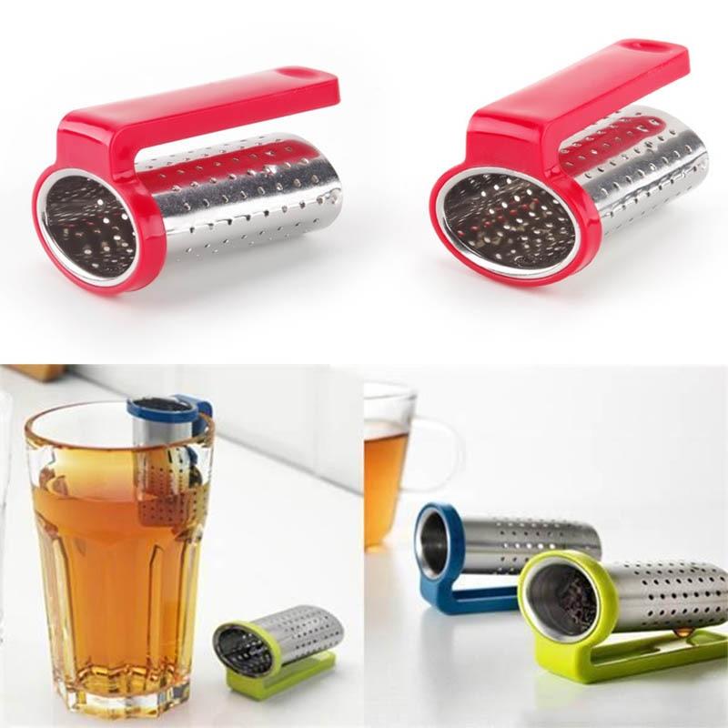 Random Color Teapot Accessories Tea Strainer Tea Holder  1PC Tea Spoon Infuser Filter Reusable Tea Infuser Stainless Steel
