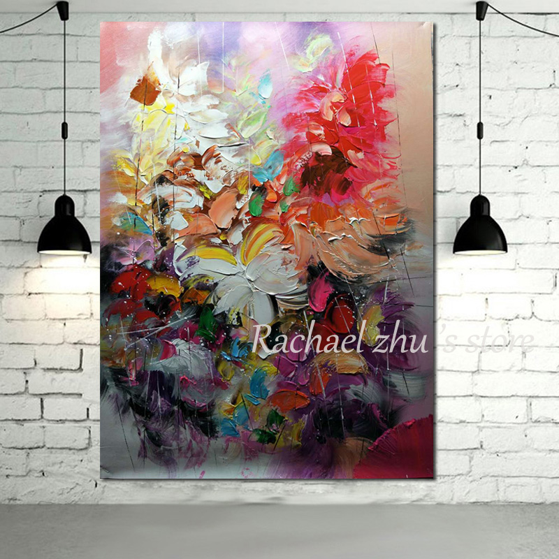 Purple Flower Oil Painting Abstract Wall Art Picture: Aliexpress.com : Buy 100%Hand Painted Abstract Palette