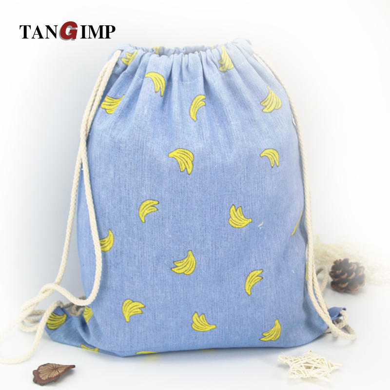 TANGIMP Cotton Linen Drawstring Backpacks Student Traveling Luggage Shoes Beach Bags Banana Tree Bottle Boys Girls Sack Gymbag tangimp drawstring backpacks embroidery dear my universe cherry rocket printing canvas softback man women harajuku bags 2018