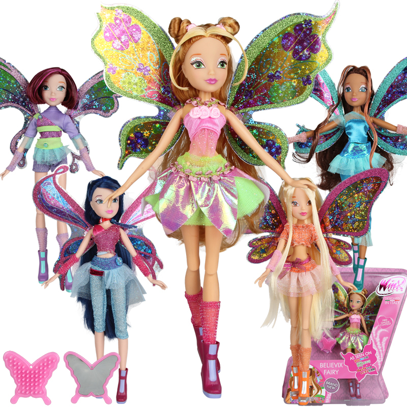 BIG!! 28CM High Winx Club Doll rainbow colorful girl Action Figures Dolls with Wing and Mirror Comb  Classic Toys For Girls Gift winx club чемодан winx city girl fashion