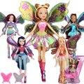 GRANDE!! 28 CM Alto Winx Club Muñeca arco iris de colores niña de las Figuras de Acción muñecas con el Ala y Espejo Peine Clásico Juguetes Para Niñas regalo