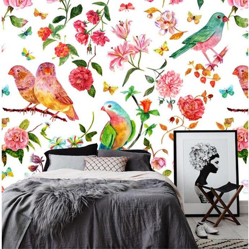 Free Desktop Wallpaper Floral Wall Mural Bird Wallpaper Flower Wallpaper for Home Watercolor European Style Desktop Backgrounds