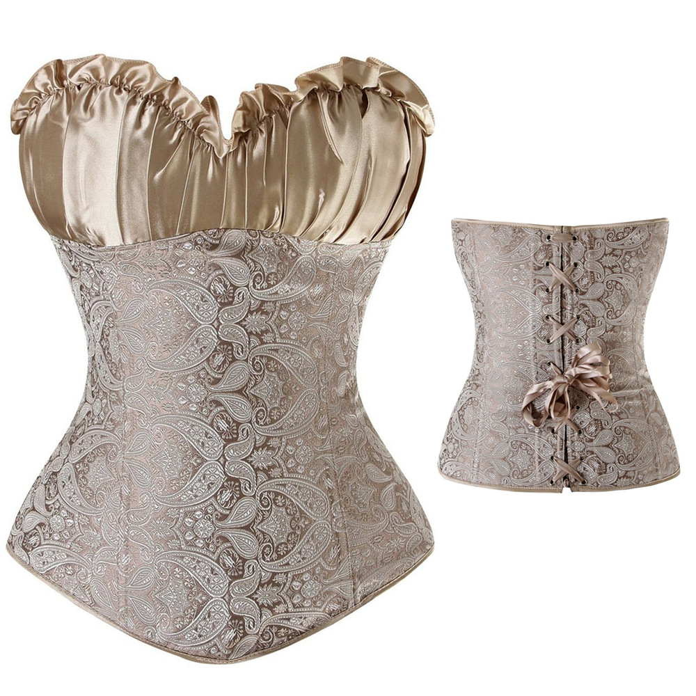 2018 New Sexy Ladies Wedding Lingerie Brocade   Bustier   Boned Lace-Up Silver   Corset   Waist Trainer   Corsets   Plus Size 6XL Steampunk