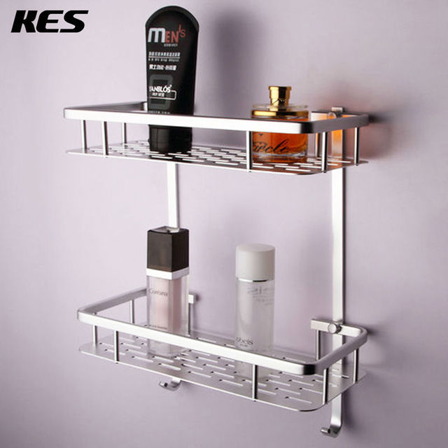 Kes A4028b Bathroom Aluminum Storage Shelf Basket With Hooks Wall Mounted Silver Sand Sprayed