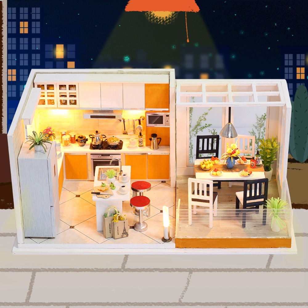 IiE CREATE Dollhouse K032 Livable Miniature DIY Kit With Lights And Dust Cover