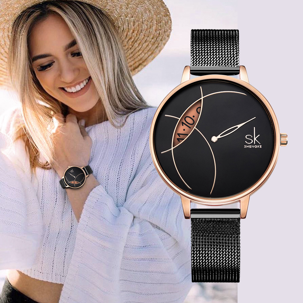Creative Women Waatch Rose Gold Balck Steel Lady Quartz Wristwatch Luxury SHENGKE Brand Fashion Casual Waterproof Girls Gfit