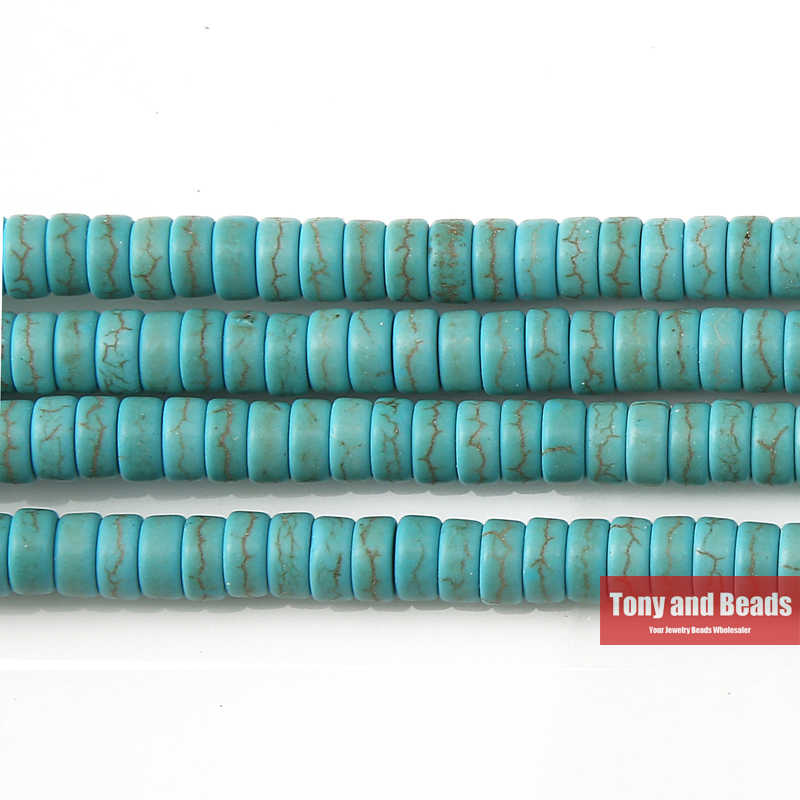 "Free Shipping Howlite Turquoises Heishi  Beads 15"" Strand 4 6 8 MM Pick Size For Jewelry Making No.TB8"