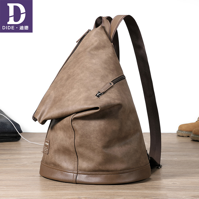 DIDE 2019 Simple Unisex Travel Backpack Casual SchoolBag Waterproof Leather Men's Backpacks 14-15 Laptop Backpack Male/Women Bag