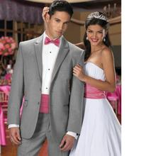 Two Buttons males swimsuit Notch Lapel Groom Tuxedos Leisure Suit Groomsmen Men's Wedding Suits (Jacket+Pants+Tie)