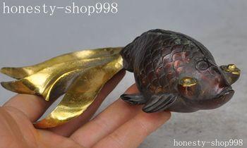 Crafts statue Old China Fengshui bronze Gilt goldfish fish animal lucky Auspicious art statue