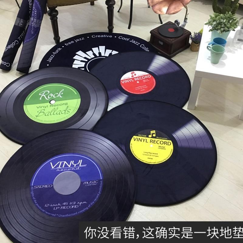 Europe Fashion Vinyl Record Pattern Mats Creative Round Mat Retro Black Carpet Study Room Area Rug Decorative Carpet