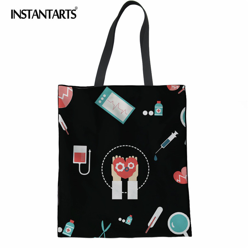 03f87d08f158 US $9.09 30% OFF|INSTANTARTS Fashion Linen Shopping Bag Nurse Medical  Printed Canvas Cloth Pouch for Girls Ladies Casual Cotton Large Beach  Bags-in ...