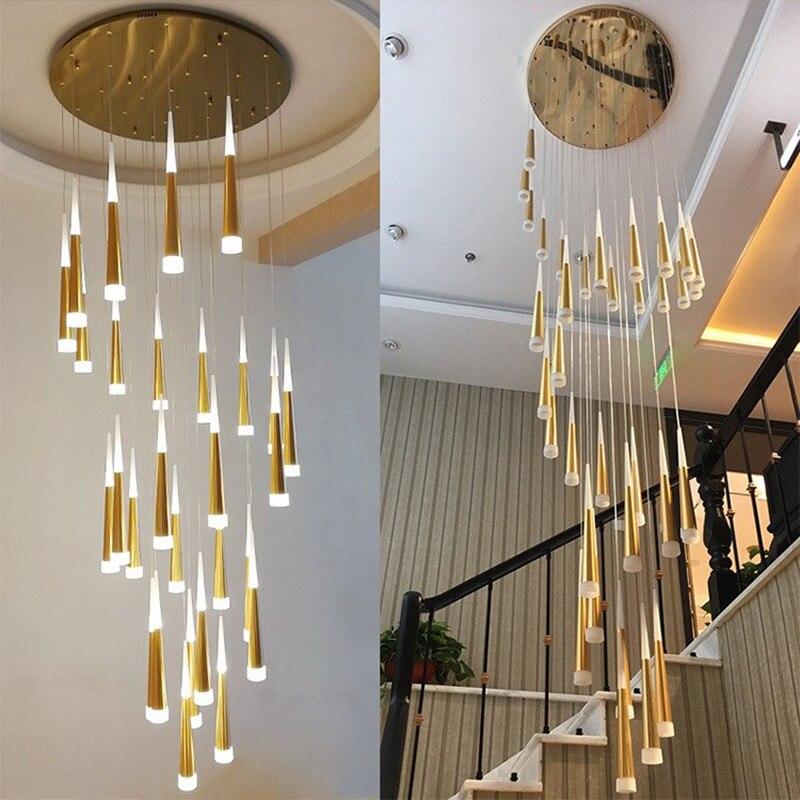 Серебристая Золотая спиральная лестница, люстра для гостиной, лестницы, лестницы, зала, отеля, люстра, светодиодные Современные Люстры, ламп...