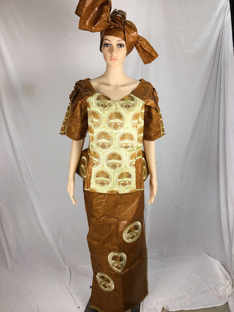 African Women Bazin riche Gele fashion with new design of the sleeve embroidery Elephant more special size for theParty  007