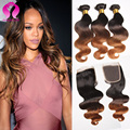 Ombre Brazilian Virgin Hair With Closure 8A Brazilian Body Wave With Closure 3 Bundles With Ombre Body Wave Lace Closure