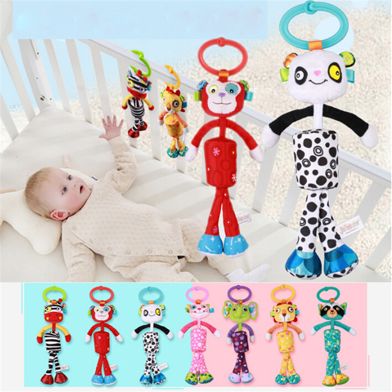 1 PC Animal Style Baby Ratlle Baby Mobile Bed Hanging Wind Chimes Ringing Baby Hand Bell Toy Plush Dolls Toy