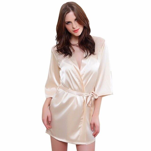 c0fc73dcc Primavera Maternidade Camisola de verão de Seda Rayon Roupão de Banho  Vestido de Renda Pijamas pijamas