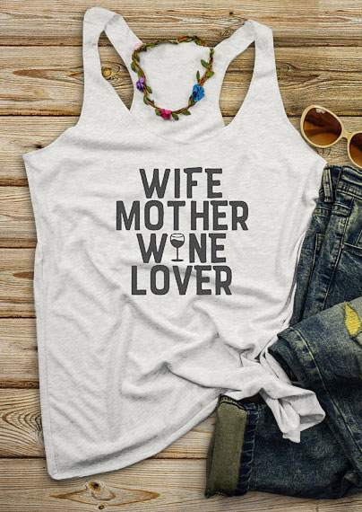 Summer Women   Tank     Tops   Wife Mother Wine Lover Letter Print   Tank   Light 2018 Female Casual Grey O-Neck Vest Summer Ladies   Tops   Tee