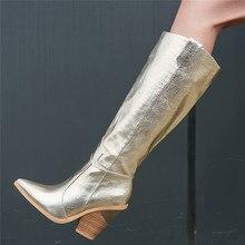 MORAZORA 2020 moda kadın çizmeler kalın yüksek topuklu diz yüksek çizmeler sivri burun altın kışlık botlar yüksek kaliteli diz yüksek çizmeler