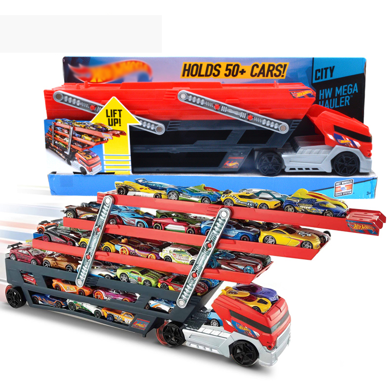 Original Hotwheels Heavy Truck CKC09 Car Hold Truck Toys For Boys Hot wheels Truck Toys 6Layer Scalable Parking Floor Truck Toys
