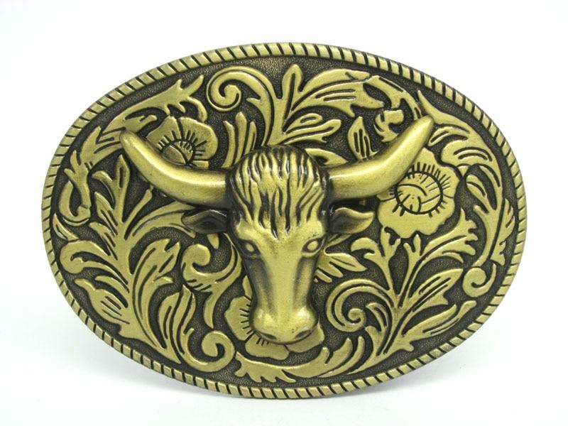 Bronze Bull Head With 3D Floral Flower Western Belt Buckle