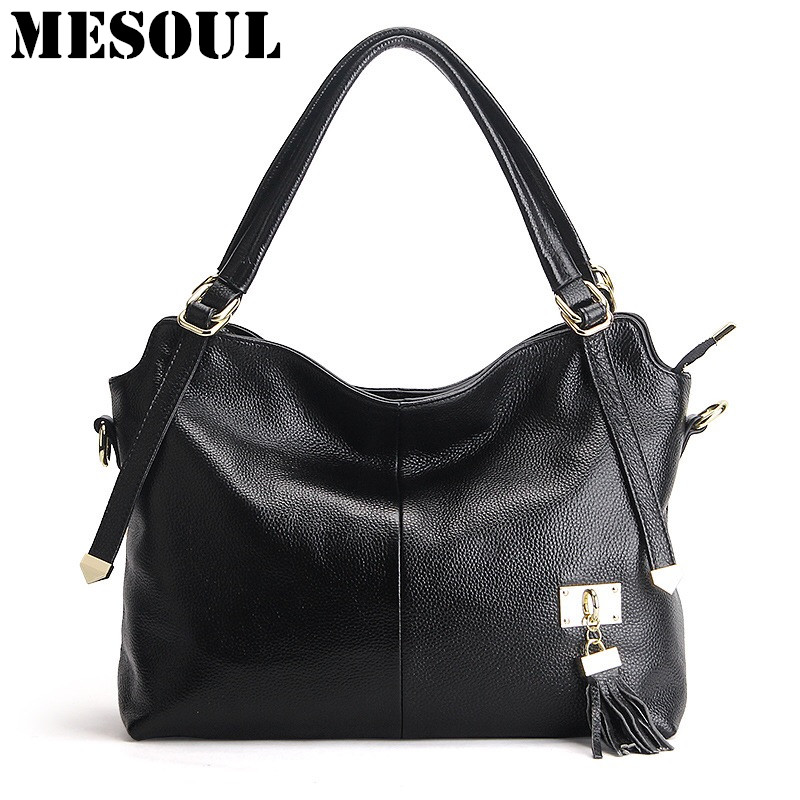 Women Casual Tote Genuine Leather Tassel Handbag Shoulder Bag Cowhide Skin Crossbody Bag High Quality Office Ladies Designer Bag genuine leather women bag 2018 summer handbag wrinkle skin female high quality cowhide shoulder crossbody bolsos mujer beach bag