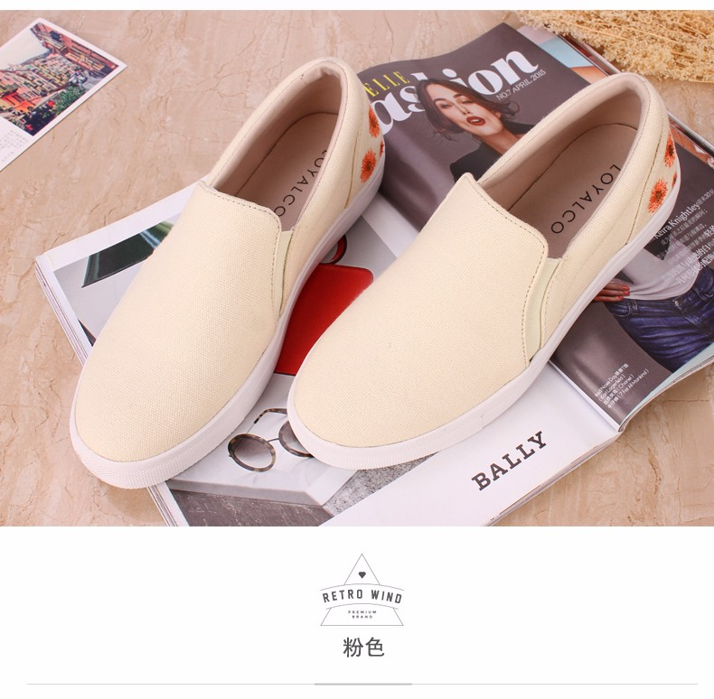 ФОТО Hot sale Loafers Woman off-white Shoes canvas shoe wholesale shoes Canvas Buckle Embroidered  4 color And 6 Size Qf2016-002