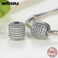 Hot Sale Real 925 Sterling Silver Glamorous Pave Barrel Clip Charm Beads Fit Original Pandora Bracelet