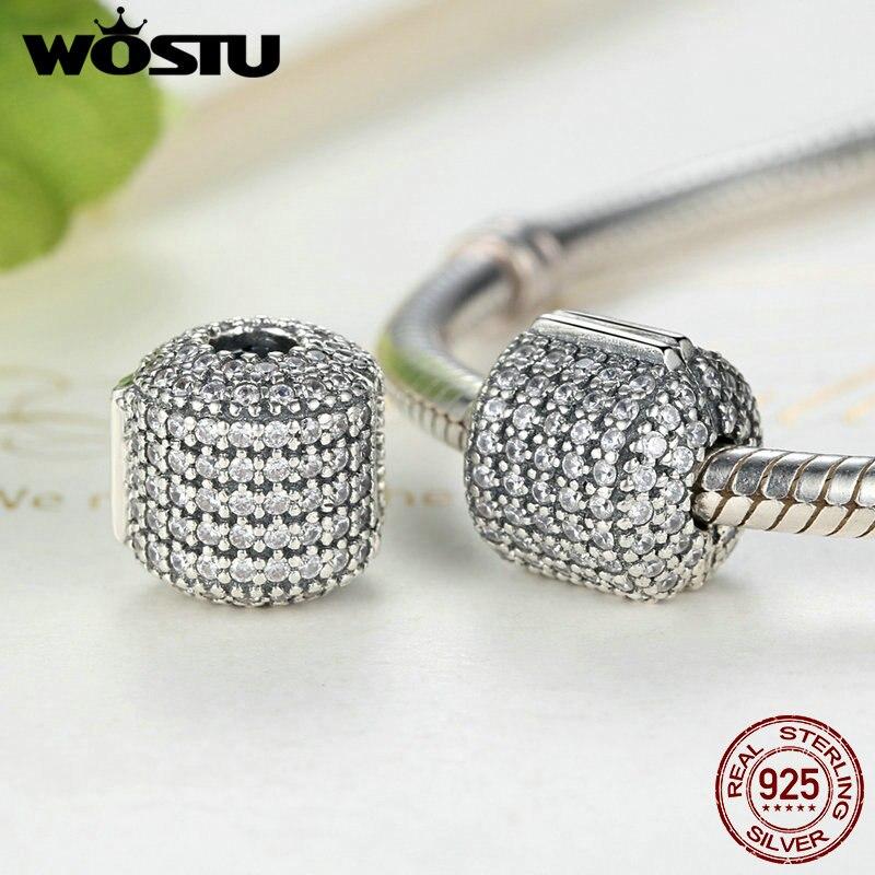 Vente chaude Réel 925 Sterling Argent Glamour Pave Barrel Clip Charm Perles Fit Pandora Bracelet Original