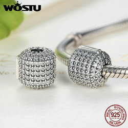 WOSTU Hot Sale Real 925 Sterling Silver Glamorous Pave Barrel Clip Charm Beads Fit Original Bracelet Authentic Jewelry FLC012