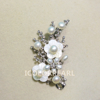 WEICOLOR Plum Blossom Shaped Small White /Pink /Black Natural Freshwater Pearl Brooch (Size 3x6mm) . Nice Gift For Women!