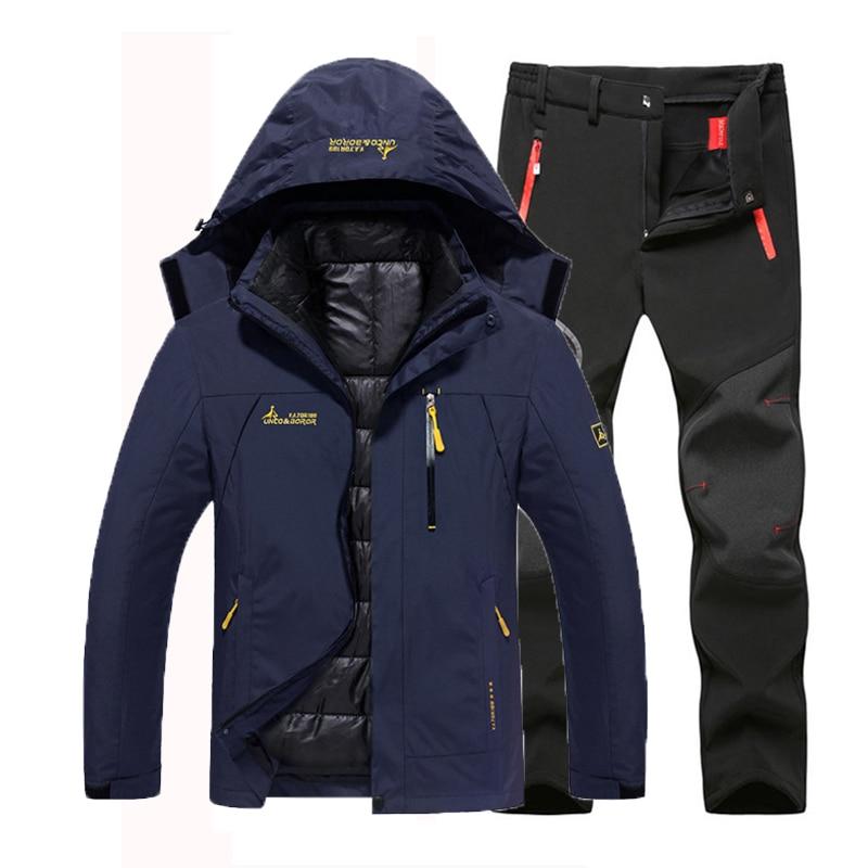 Oversize Men Winter Waterproof Fish Trekking Hiking Camp Ski Climb Warm Plus Size 3 In 1 Cotton Outdoor Jackets 6XL Pants Suit
